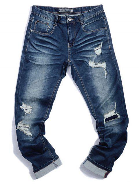hot Zip Fiy Men Ripped Jeans - DENIM BLUE 38 Mobile