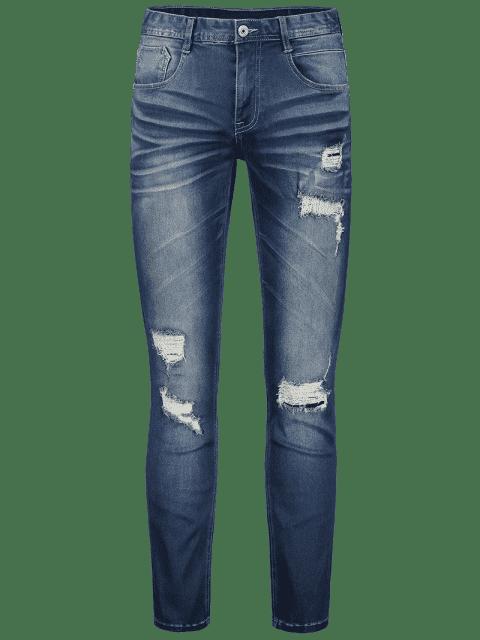 shop Zip Fiy Men Ripped Jeans - DENIM BLUE 32 Mobile