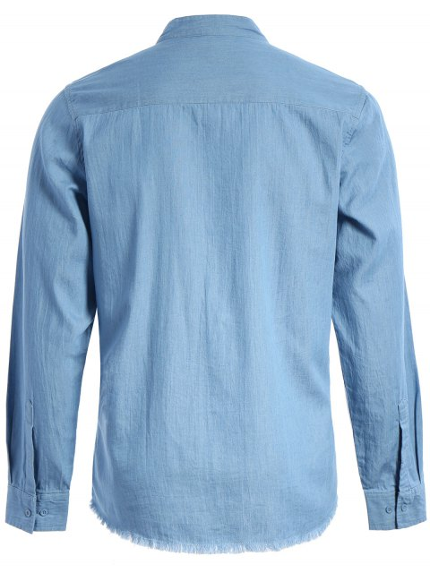shops Frayed Hem Mandarin Collar Denim Shirt - LIGHT BLUE XL Mobile