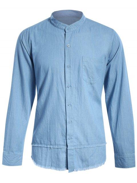 fashion Frayed Hem Mandarin Collar Denim Shirt - LIGHT BLUE S Mobile