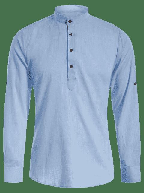 fancy Mandarin Collar Half Button Denim Shirt - LIGHT BLUE M Mobile
