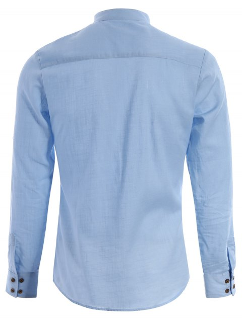 Chemise en jean demi-bouton en mandarine - Bleu clair XS Mobile