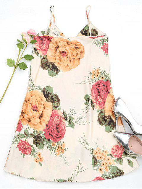 Robe en satin à imprimé floral lustré - Multicouleur TAILLE MOYENNE Mobile