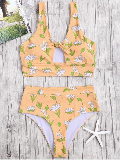 affordable Floral High Waist Bikini Swimwear - EARTHY S Mobile
