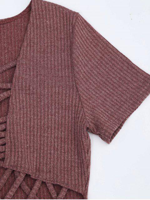 Criss Cross Cut Out Plunge Robe tricotée - Brique S Mobile