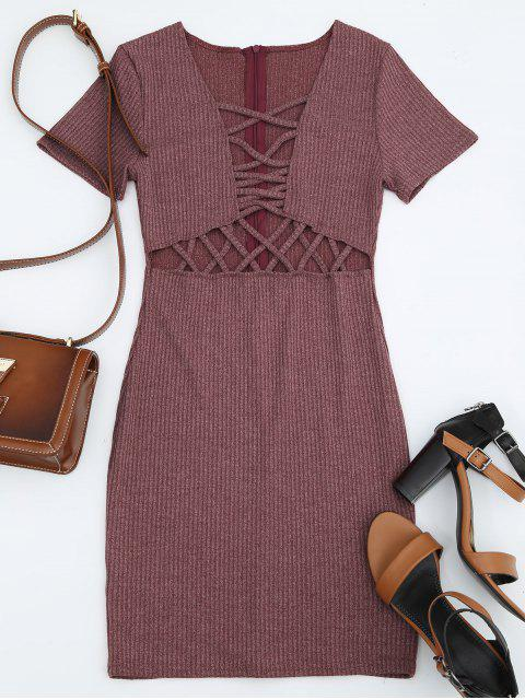fancy Criss Cross Cut Out Plunge Knitted Dress - BRICK-RED S Mobile
