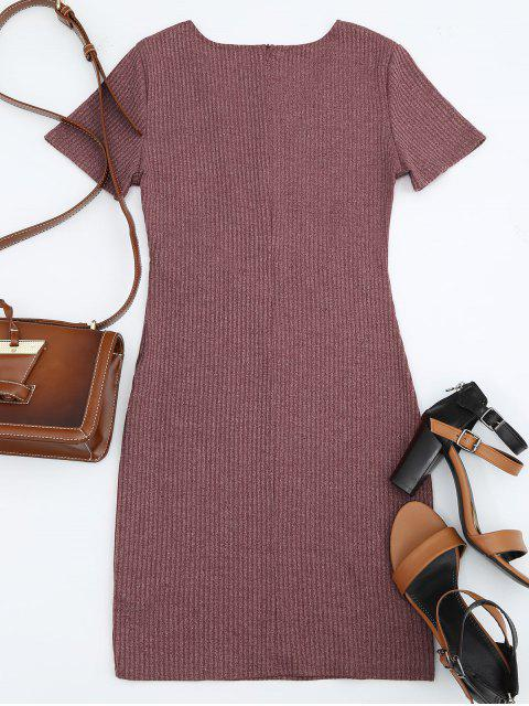 sale Criss Cross Cut Out Plunge Knitted Dress - BRICK-RED M Mobile