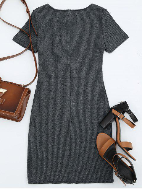 women Criss Cross Cut Out Plunge Knitted Dress - DEEP GRAY XL Mobile