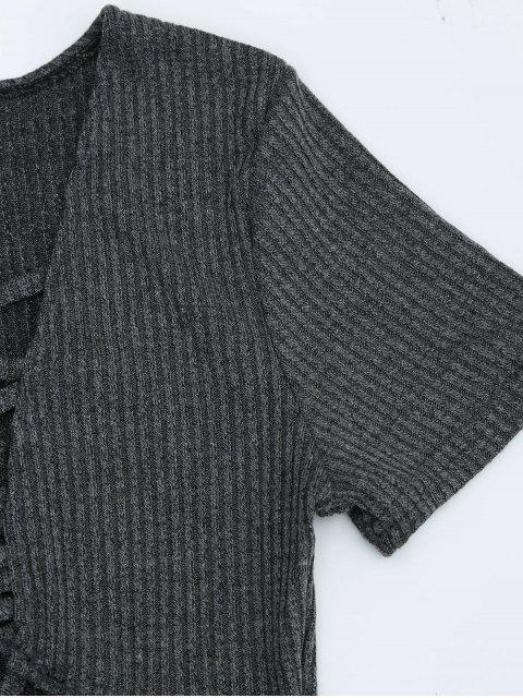 lady Criss Cross Cut Out Plunge Knitted Dress - DEEP GRAY S Mobile