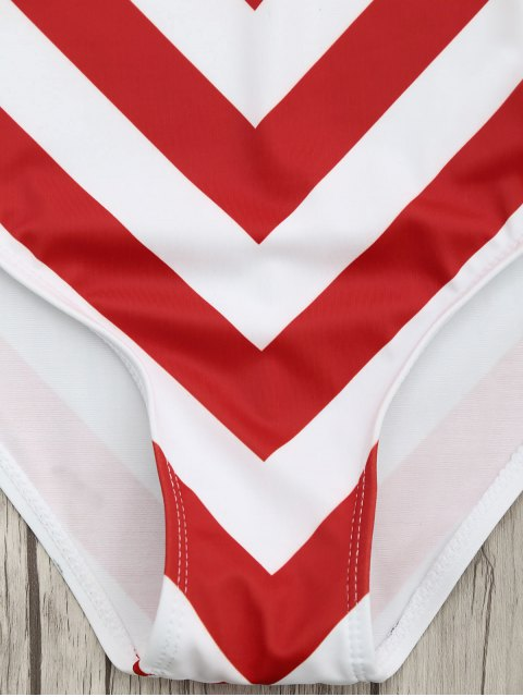 best Chevron Stripe Shaping Plunge One Piece Swimsuit - RED AND WHITE L Mobile