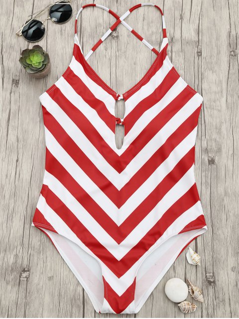 new Chevron Stripe Shaping Plunge One Piece Swimsuit - RED AND WHITE S Mobile