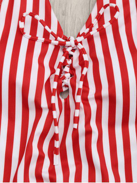 hot Lace Up Striped One Piece Swimsuit - RED AND WHITE L Mobile