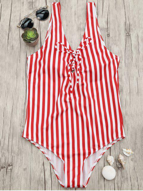 outfits Lace Up Striped One Piece Swimsuit - RED AND WHITE S Mobile