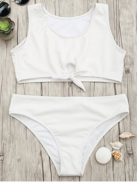 affordable Textured Knotted Crop Bikini Set - WHITE M Mobile
