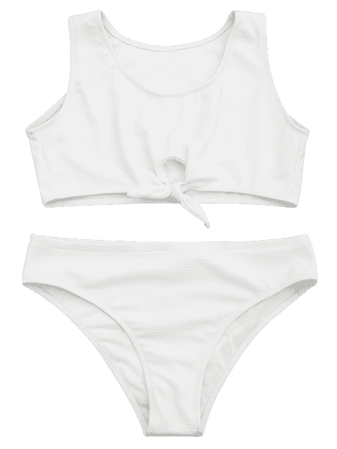 buy Textured Knotted Crop Bikini Set - WHITE S Mobile