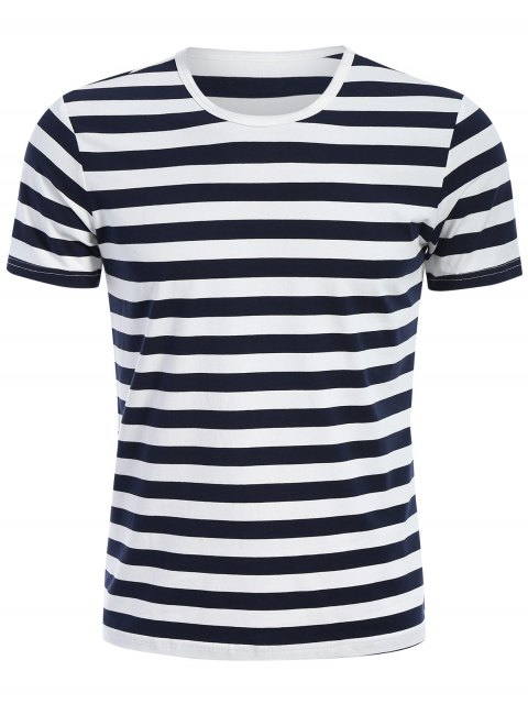 T-shirt Jersey à Rayures Col Rond - Bleu et Blanc 3XL Mobile