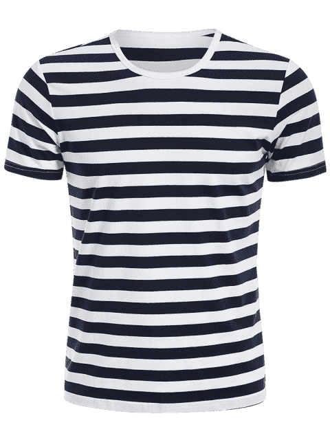 new Mens Crewneck Striped Jersey Tee - BLUE AND WHITE 3XL Mobile