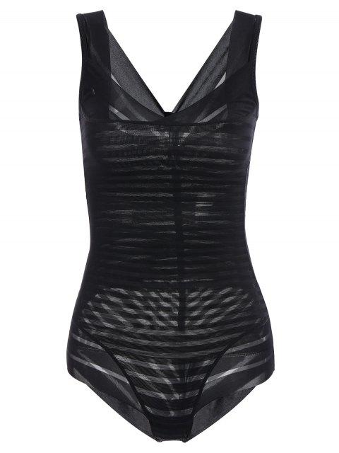 shops Underbust Sheer Stripe Body Corset Shaper - BLACK 2XL Mobile