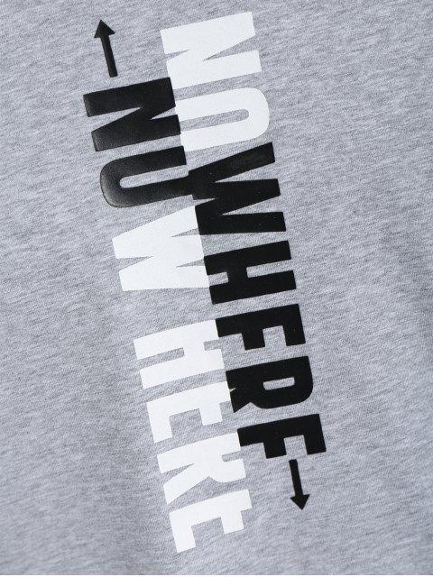 fashion Mens Crewneck Slogan Graphic Tee - GRAY 2XL Mobile
