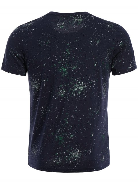 new Brief Short Sleeve Patterned T-shirt - DEEP BLUE 3XL Mobile