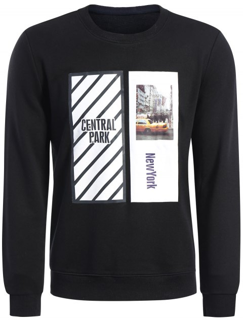 Pullover Graphic Print Sweatshirt - Noir 2XL Mobile