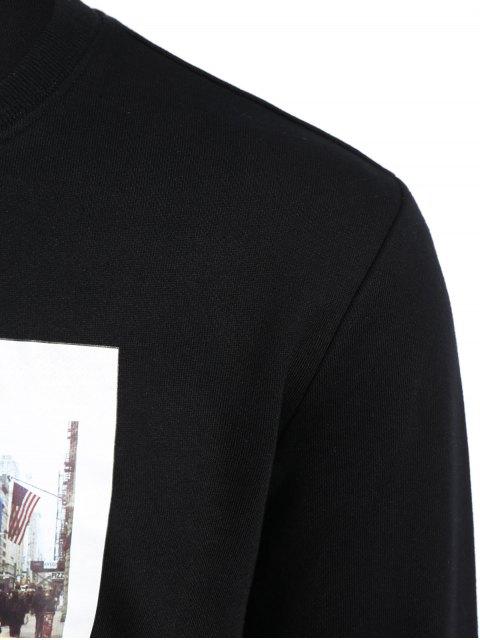 shops Pullover Graphic Print Sweatshirt - BLACK XL Mobile