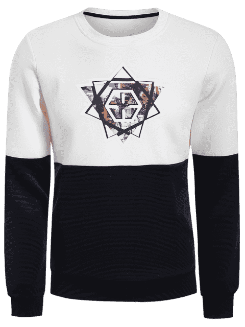 latest Pullover Graphic Color Block Sweatshirt - WHITE AND BLACK 2XL Mobile