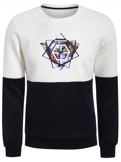 Pullover Graphic Color Block Sweatshirt - Weiß & Schwarz XL  Mobile
