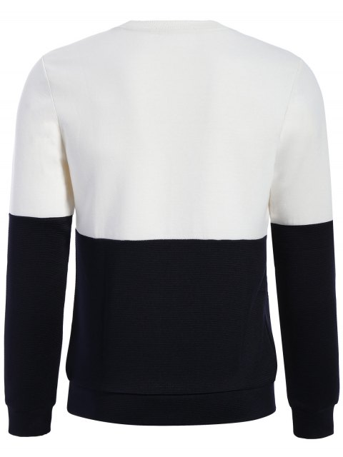 trendy Pullover Graphic Color Block Sweatshirt - WHITE AND BLACK XL Mobile