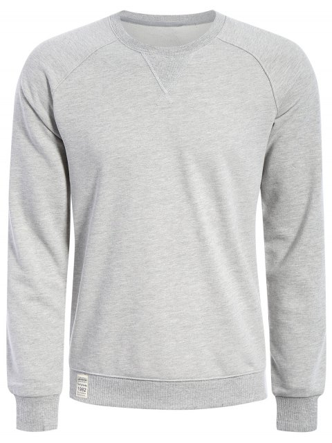 Hommes Terry Pullover Sweatshirt - Gris XL Mobile