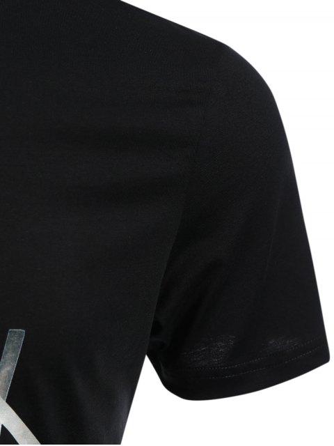 T-shirt Slim Fit Mens Stripe - Noir 3XL Mobile