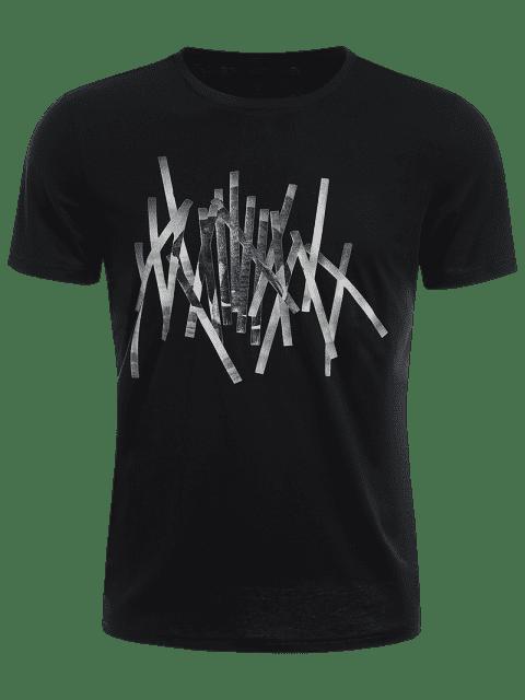 T-shirt Slim Fit Mens Stripe - Noir 2XL Mobile