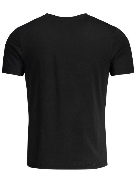 online Short Sleeve Mens Crewneck Graphic Tee - BLACK 3XL Mobile