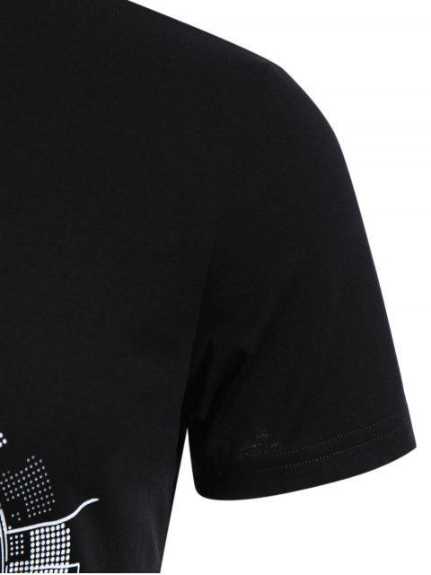 T-shirt à manches courtes à manches courtes - Noir 2XL Mobile