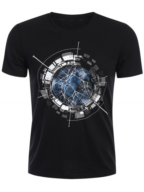 outfits Short Sleeve Mens Crewneck Graphic Tee - BLACK XL Mobile