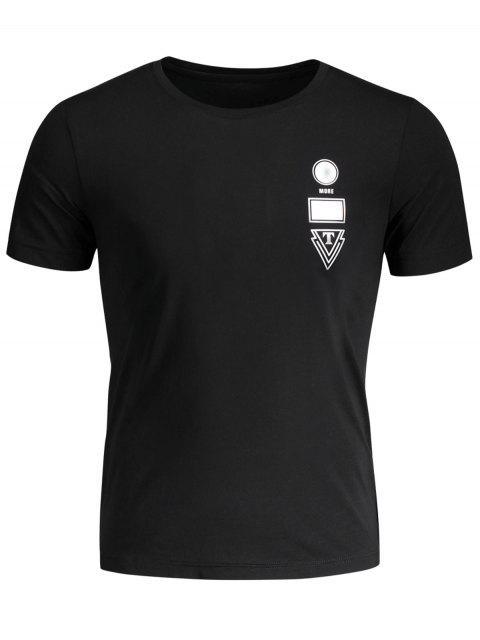 T-shirt Jersey Graphique Col Rond - Noir 3XL Mobile