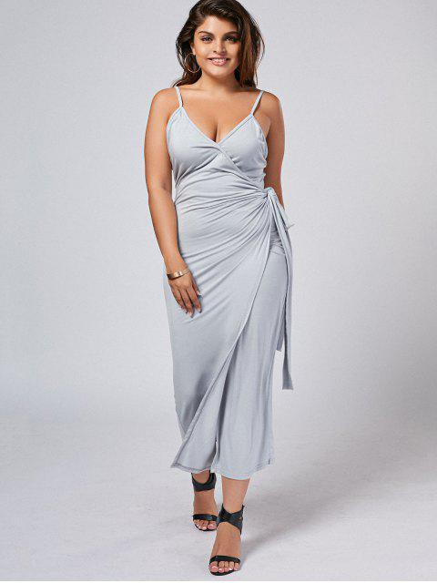 lady Slit Plus Size Wrap Slip Dress - GRAY 3XL Mobile