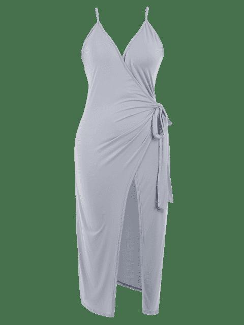 online Slit Plus Size Wrap Slip Dress - GRAY 4XL Mobile