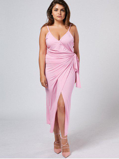 outfits Plus Size Slip Asymmetrical Wrap Dress - LIGHT PURPLE XL Mobile