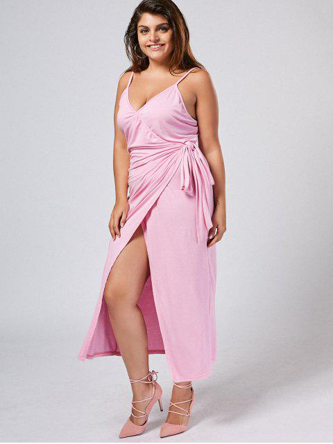 unique Plus Size Slip Asymmetrical Wrap Dress - LIGHT PURPLE 5XL Mobile