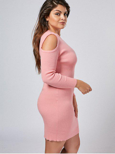 hot Plus Size Cold Shoulder Ribbed Sweater Dress - PINK XL Mobile