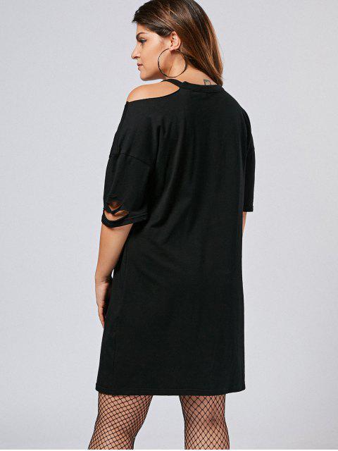 affordable Plus Size Cut Out Cold Shoulder Tee Dress - BLACK 3XL Mobile