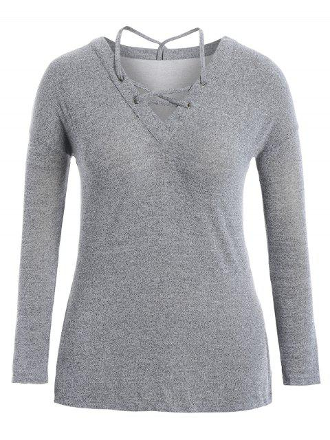 buy Slit Plus Size Strappy T-shirt - LIGHT GREY XL Mobile