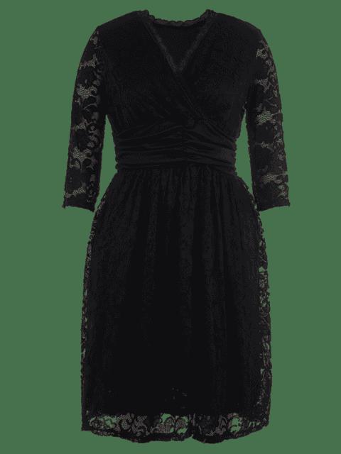 latest Plus Size Surplice Scalloped Lace Dress - BLACK 2XL Mobile
