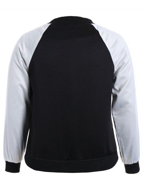 outfits Plus Size Embroidered Raglan Sleeve Baseball Jacket - BLACK 4XL Mobile