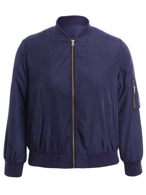 shop Plus Size Zippered Bomber Jacket - BLUE XL Mobile