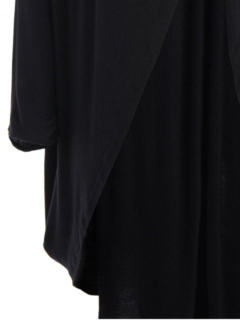 unique Collarless Plus Size Open Front Top - BLACK 4XL Mobile