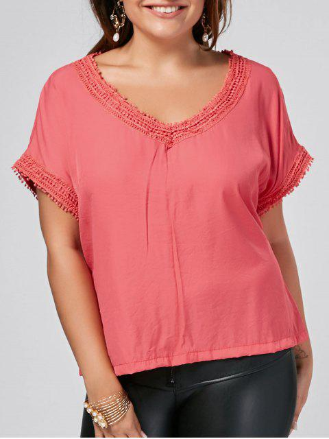 Batwing Plus Size Lace Trim Top - Incarnadin 2XL Mobile