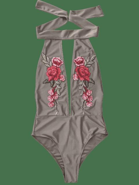 Maillot de bain col ras du cou dos nu avec broderie floral - Brun Clair L Mobile