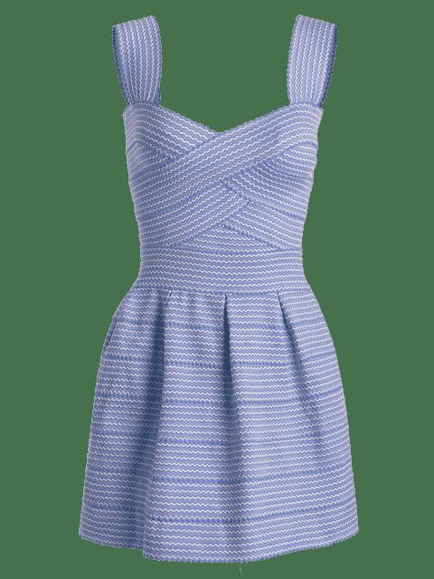 shops Sweetheart Neck Puffball Mini Dress - BLUE ONE SIZE Mobile
